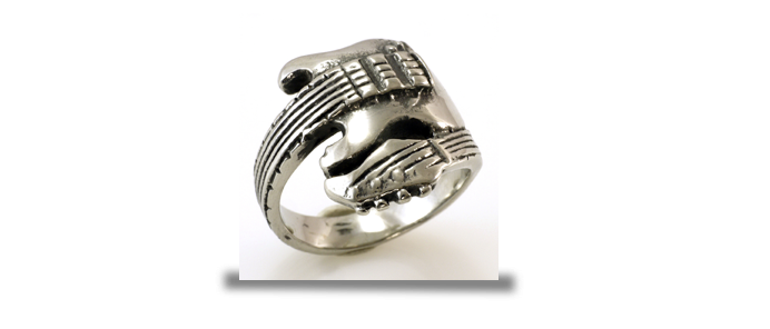 Guitar Steel Ring Size 9