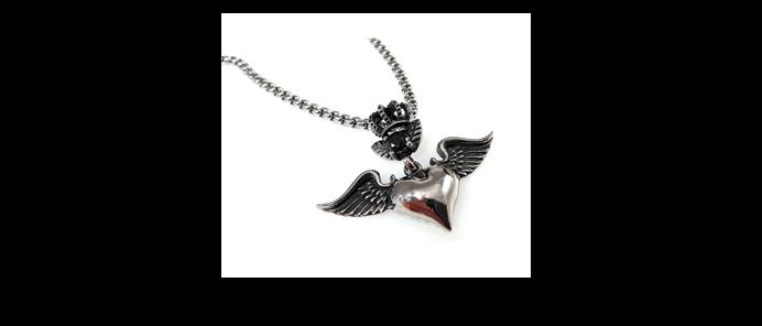 Edelstahlkette Heart Wings