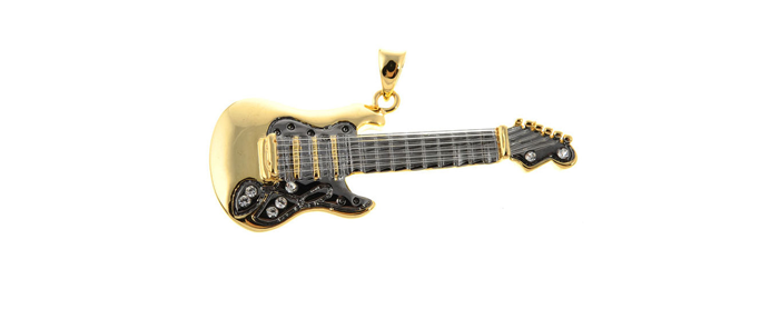 Pendant E-Guitar Black/Gold Kette