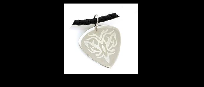 Silber Plektrum Tribal mit silber Kette
