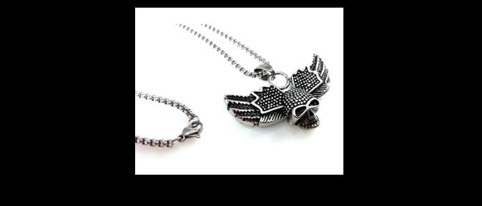 Edelstahlkette Skull Wings